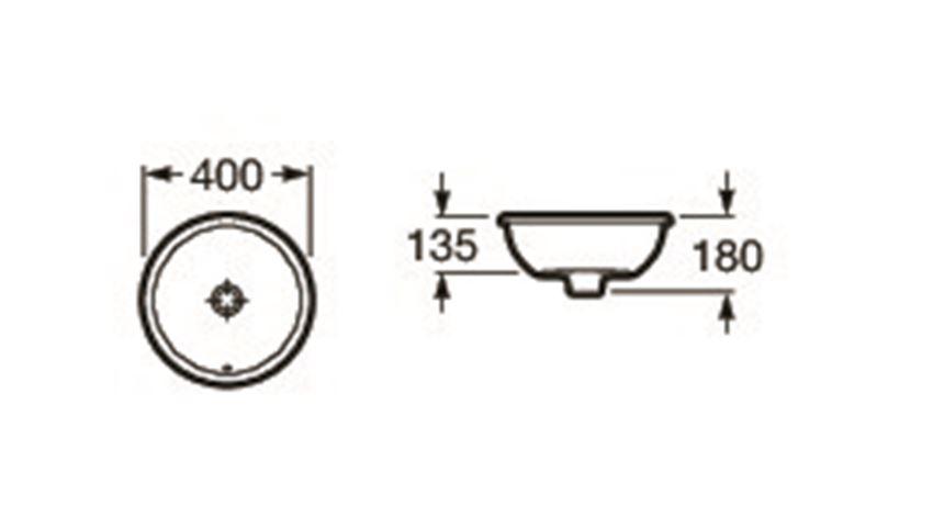 Umywalka blatowa 40x40 cm Roca Foro rysunek techniczny