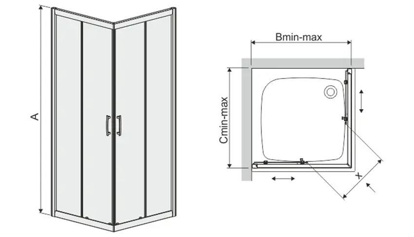Kabina prysznicowa kwadratowa 80 cm Sanplast TX rysunek
