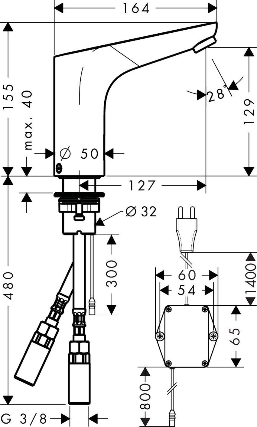 Bateria umywalkowa elektroniczna Hansgrohe Focus rysunek techniczny