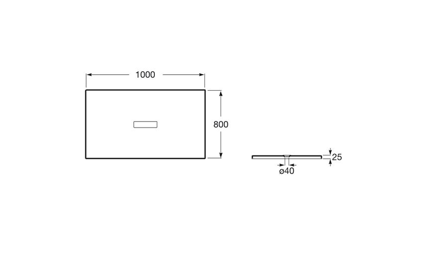 Rysunek techniczny brodzika prostokątnego 100x80x2,5 cm Roca Helios