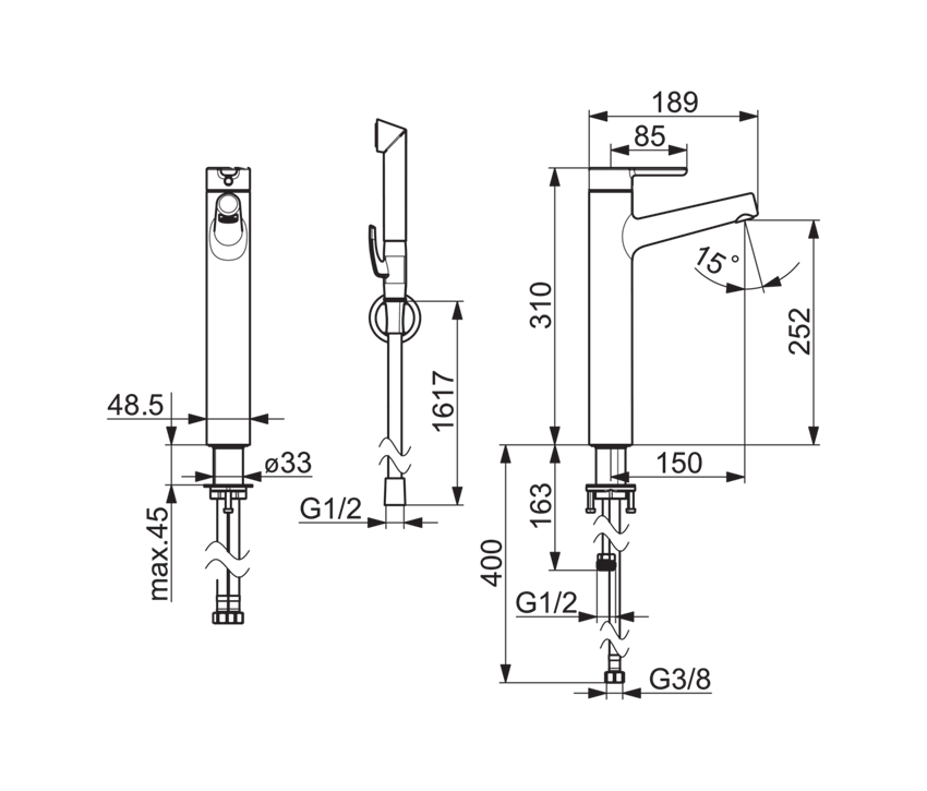 Bateria umywalkowa z rączką bidetta Oras Inspera rysunek techniczny