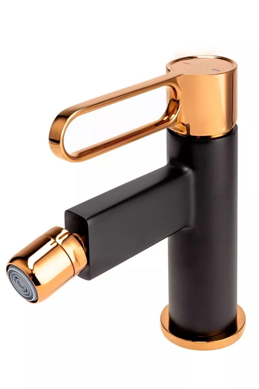 Bateria bidetowa różowe złoto-czarny FDesign Zaffiro