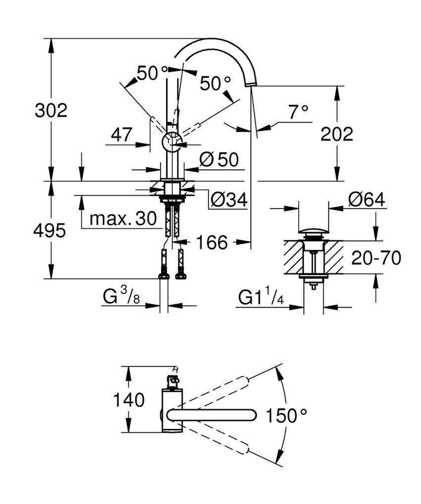 Bateria umywalkowa rozmiar L stal nierdzewna 30,2 cm Grohe Atrio rysunek techniczny