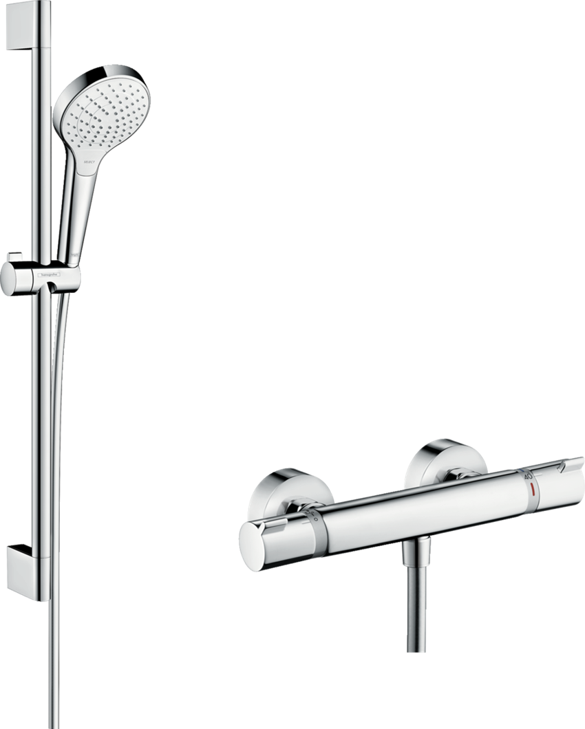 Zestaw prysznicowy Vario z termostatem Ecostat Comfort i drążkiem 65 cm Hansgrohe Croma Select S
