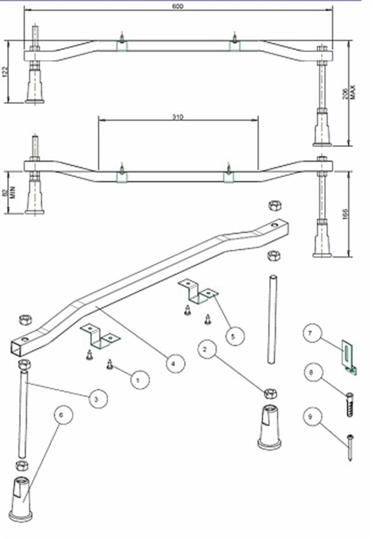 Zestaw montażowy do wanien Koło Modo rysunek techniczny