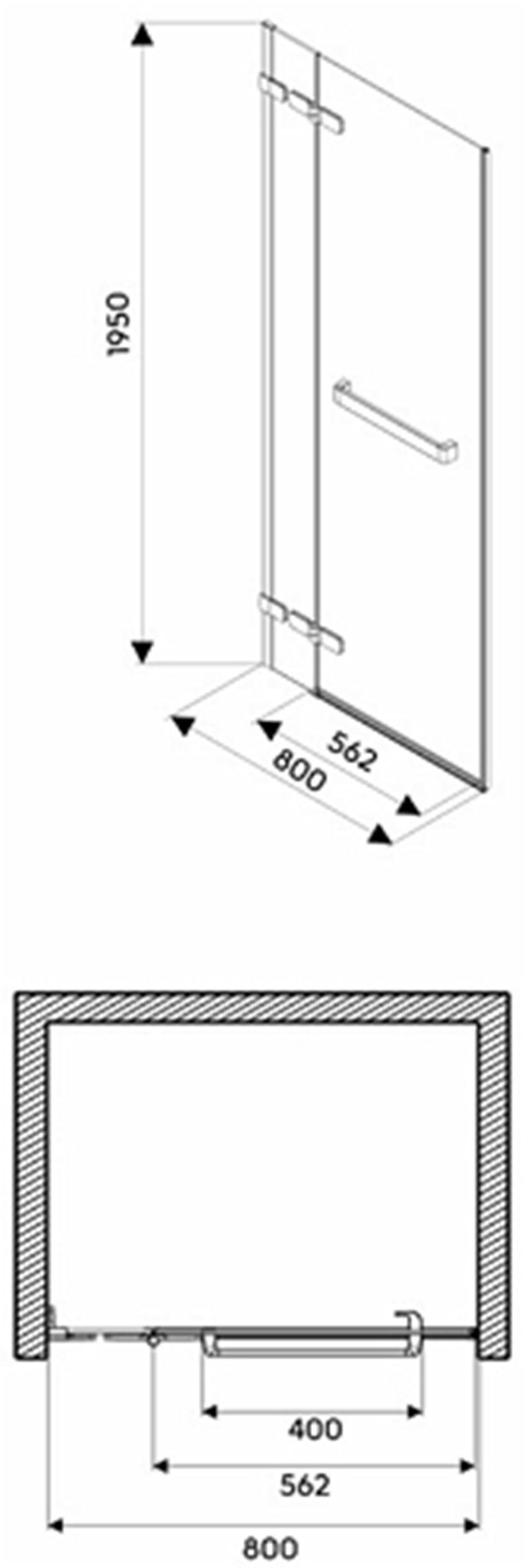 Drzwi lewostronne 80x195 cm Koło Next rysunek techniczny