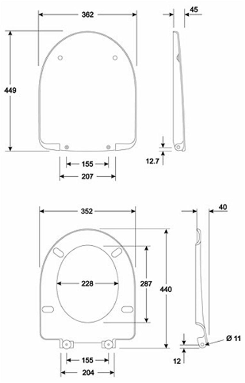 Deska sedesowa antybakteryjna owalna Koło Nova Pro rysunek techniczny