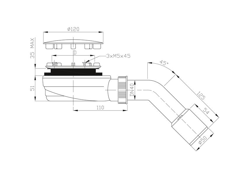 Ultrapłaski odpływ brodzikowy 52 cm Roca Malaga rysunek techniczny