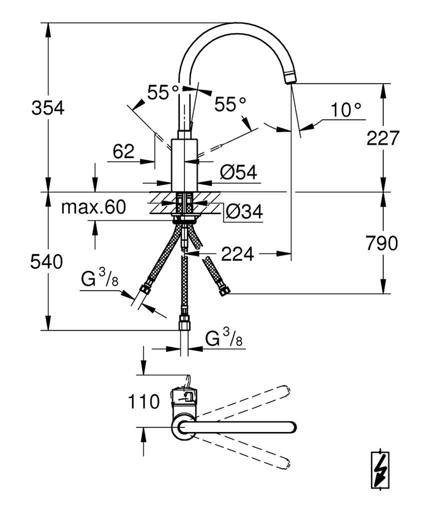 Jednouchwytowa bateria kuchenna 35,4 cm Grohe Eurosmart Cosmopolitan rysunek techniczny