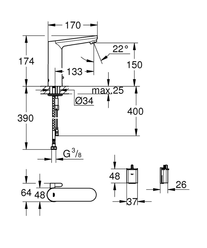 Umywalkowa bateria elektroniczna, rozmiar L Grohe Eurosmart Cosmopolitan E rysunek