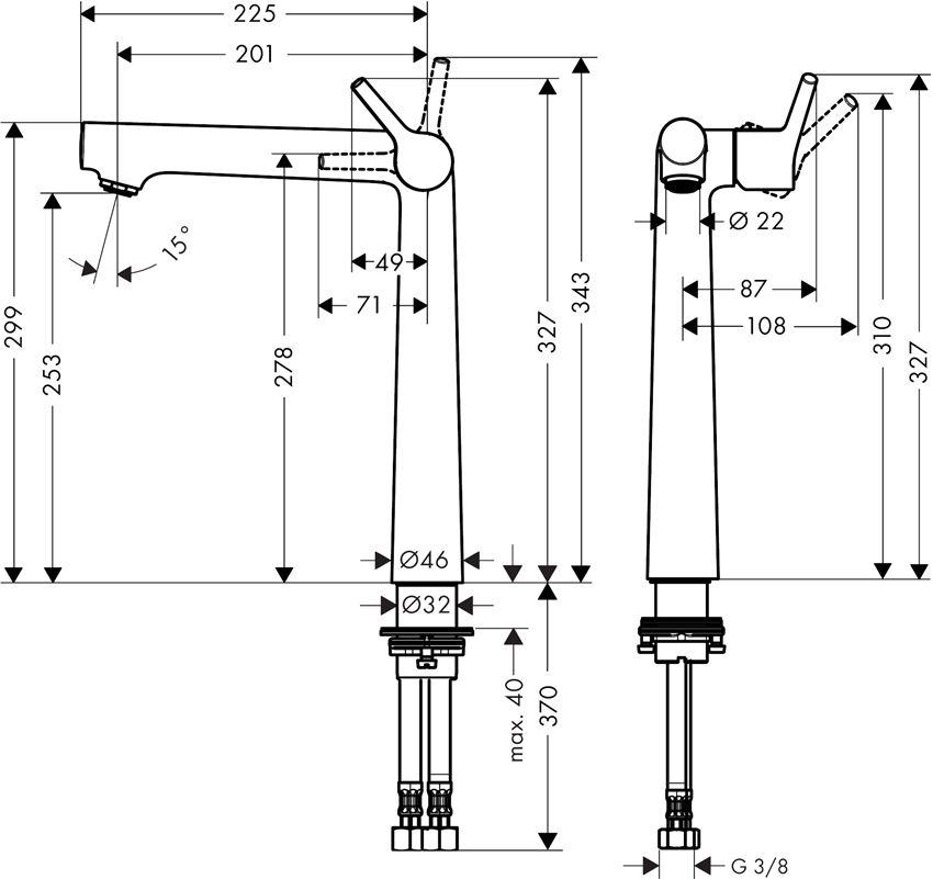 Bateria umywalkowa 250 bez kpl. odpływowego Hansgrohe Talis S rysunek techniczny