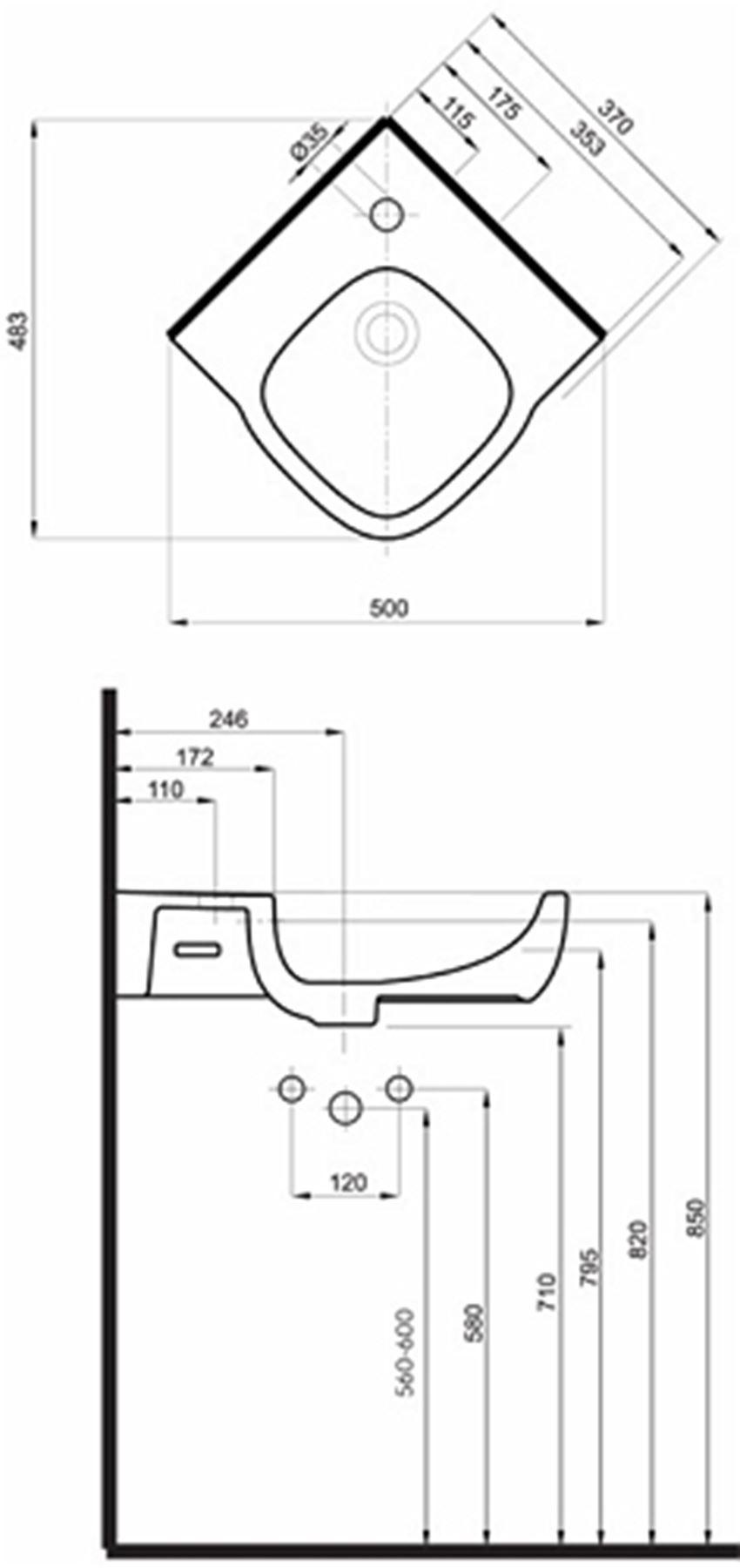 Umywalka narożna 50 cm Koło Style rysunek techniczny