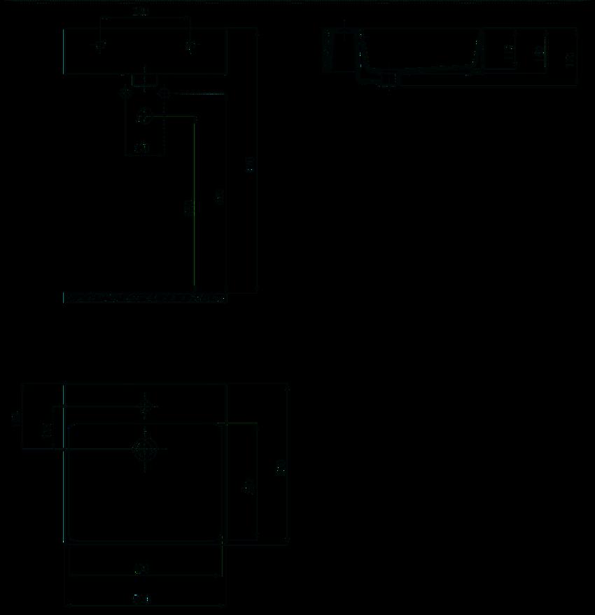 Umywalka stawiana na blacie 50x50 cm Deante Temisto rysunek techniczny