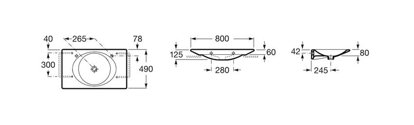 Umywalka ścienna 80x49x12,5 cm Roca Kalahari rysunek techniczny