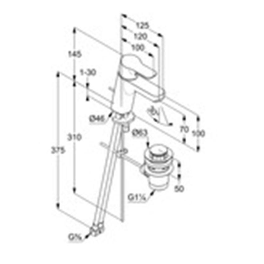 Jednouchwytowa bateria umywalkowa Kludi Pure&Easy rysunek techniczny
