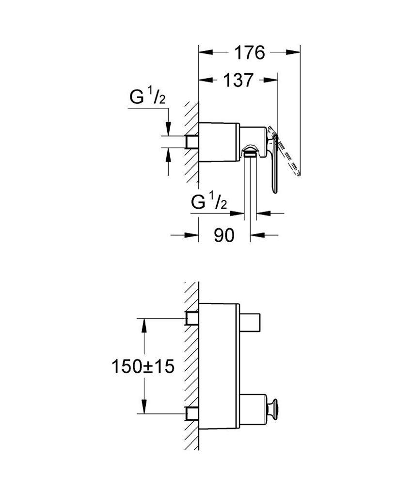 Bateria natryskowa ścienna  Grohe Veris rysunek techniczny