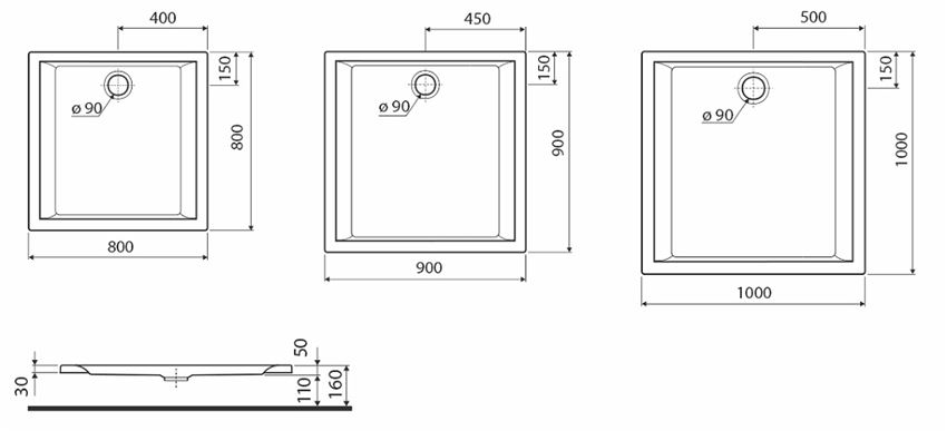 Brodzik kwadratowy Koło Pacyfik rysunek techniczny