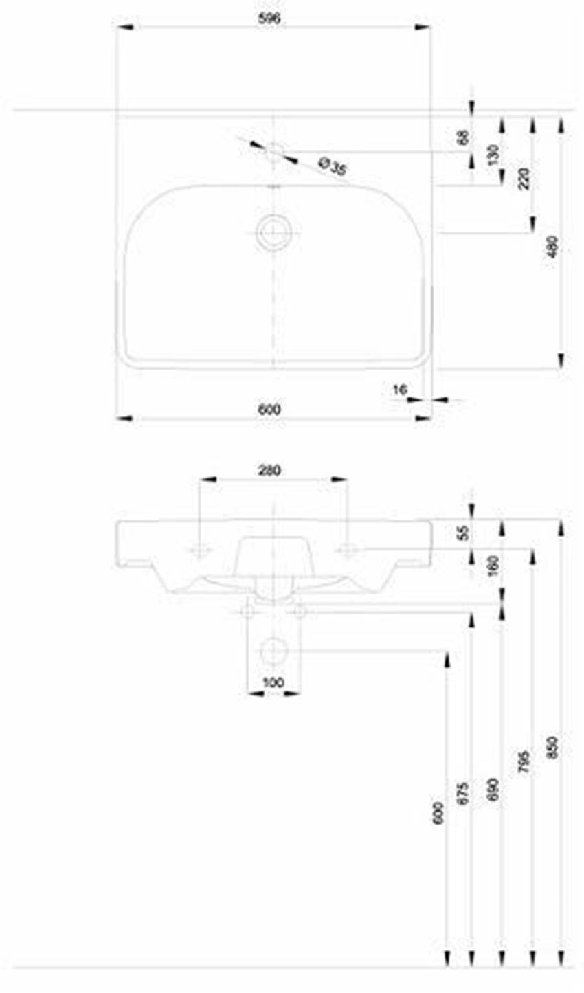 Umywalka meblowa 60 cm Koło Traffic rysunek techniczny