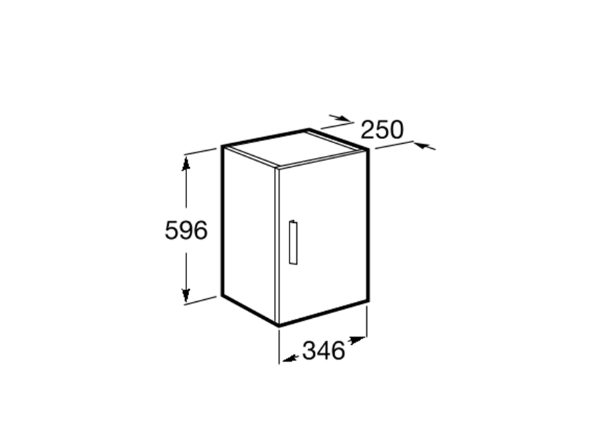 Kolumna obustronna 34,6x25x59,6 cm Roca Debba rysunek techniczny