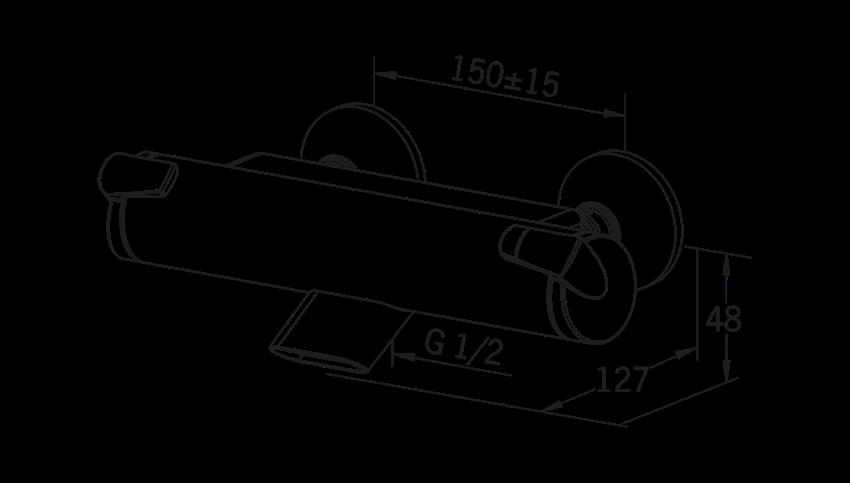Bateria wannowo-prysznicowa z termostatem Oras Optima rysunek techniczny