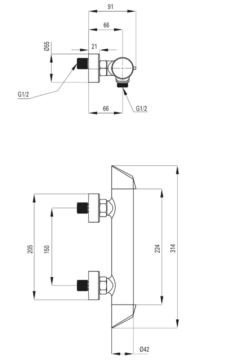 Bateria natryskowa bez kompletu natryskowego Deante Arnika Titanium rysunek