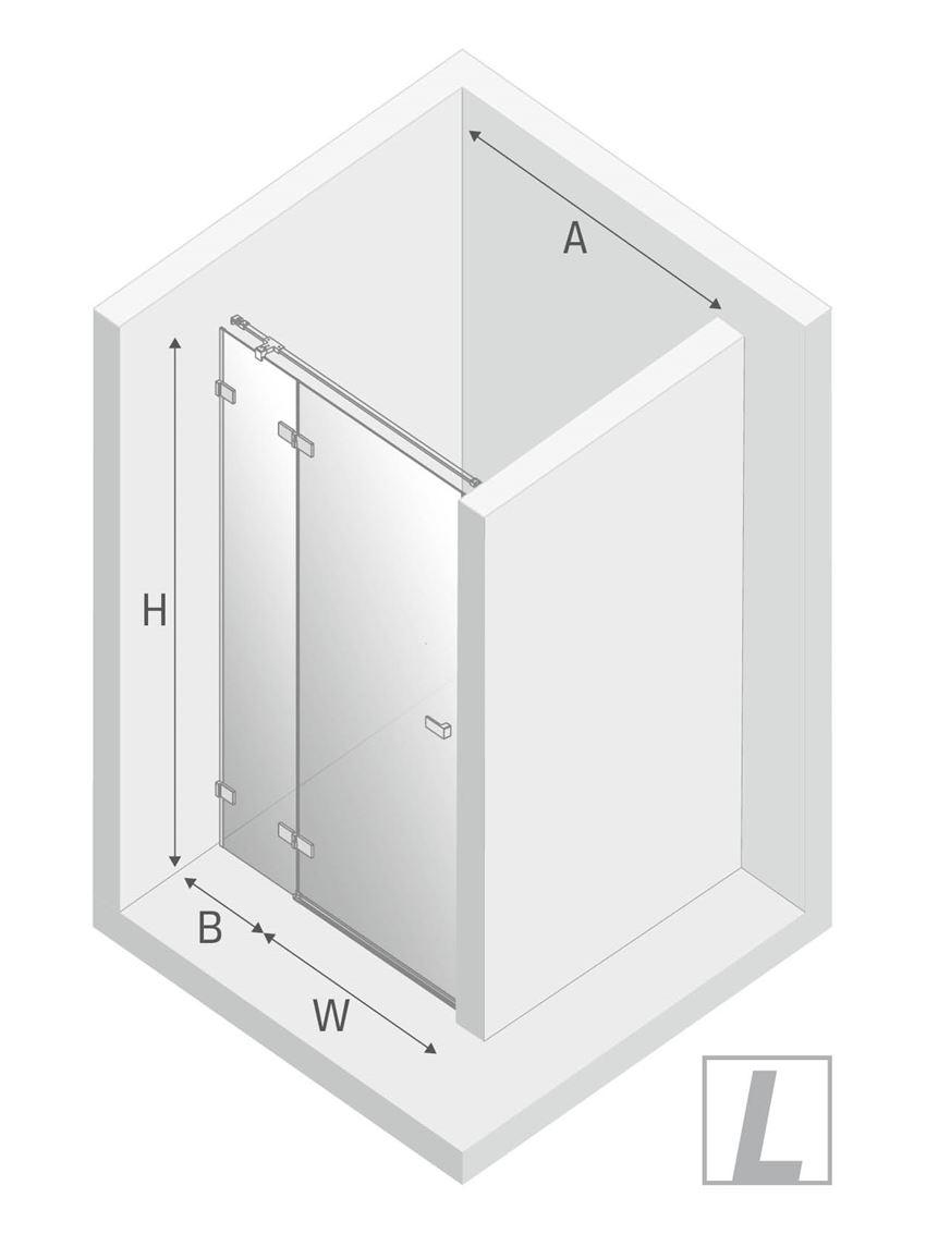 Drzwi prysznicowe lewe uchylne New Trendy Avexa Black rysunek