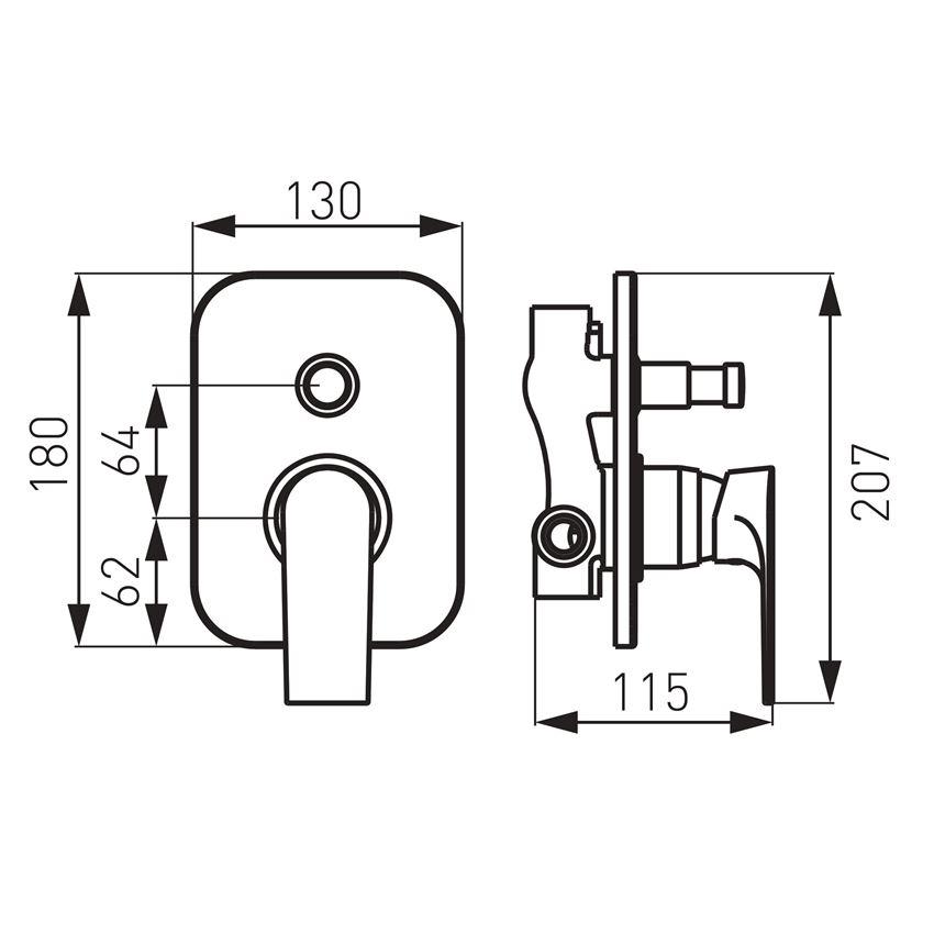 Bateria natryskowa ścienna Ferro Algeo Square rysunek techniczny