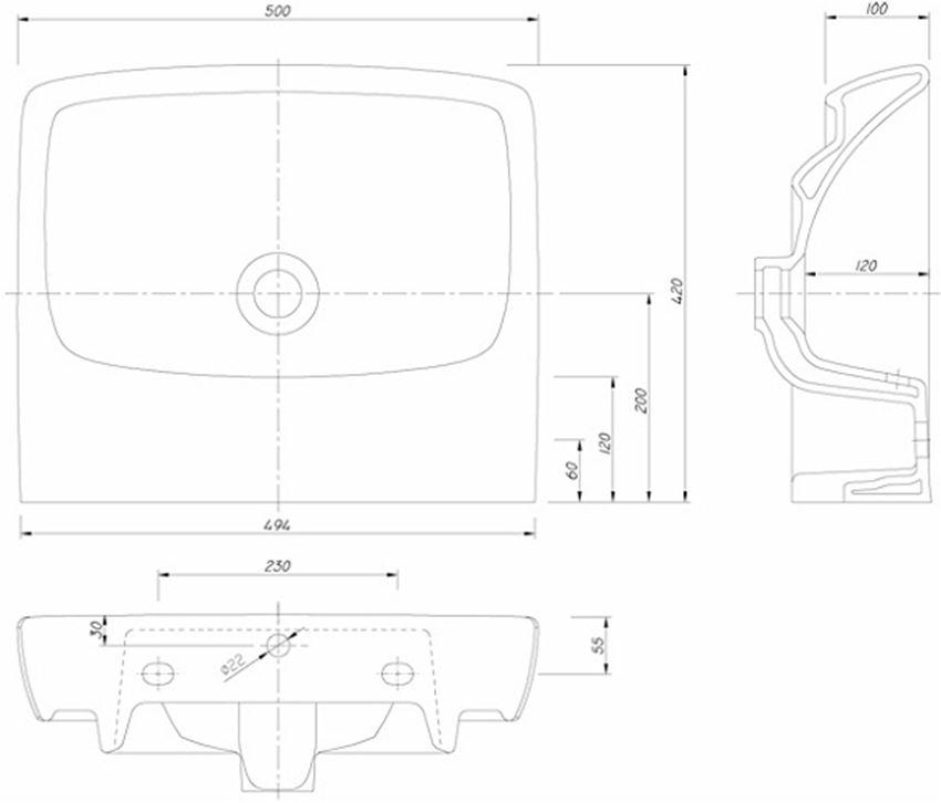 Umywalka prostokątna bez otworu 50 cm Koło Nova Pro rysunek techniczny