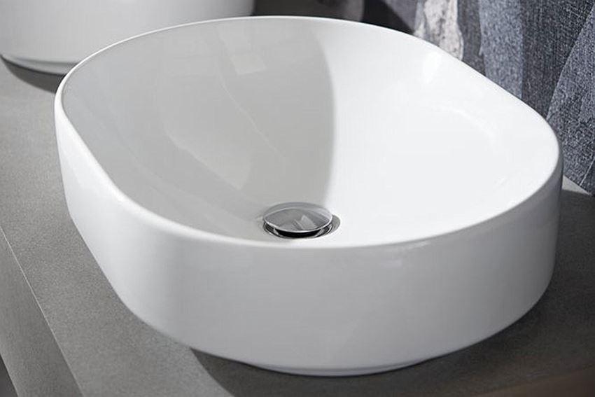 Umywalka stawiana na blat 55x40 cm eliptyczna bez otworu i przelewu Koło VariForm
