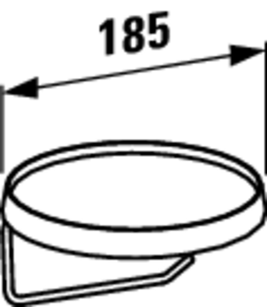Wieszak na papier toaletowy z dyskiem Laufen Kartell  rysunek techniczny