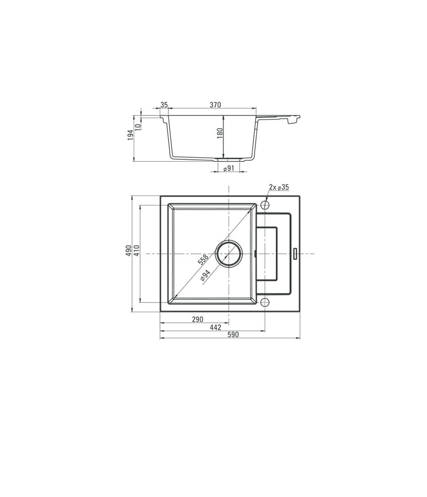 Zlewozmywak 1-komorowy z krótkim ociekaczem Deante Rapido rysunek techniczny
