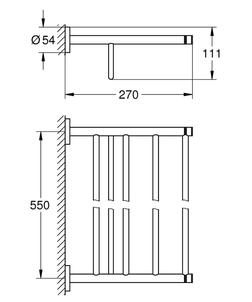 Półka z wieszakiem na ręczniki Grohe Essentials rysunek techniczny