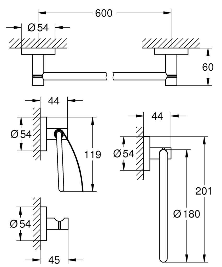 Zestaw akcesoriów łazienkowych 4 w 1 Grohe Essentials rysunek techniczny