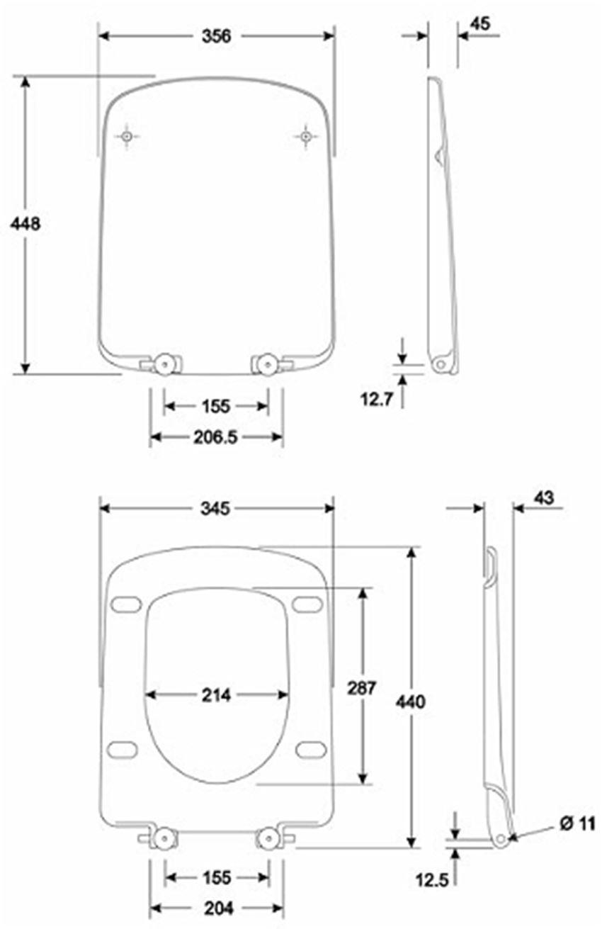 Deska sedesowa prostokątna Koło Nova Pro rysunek techniczny