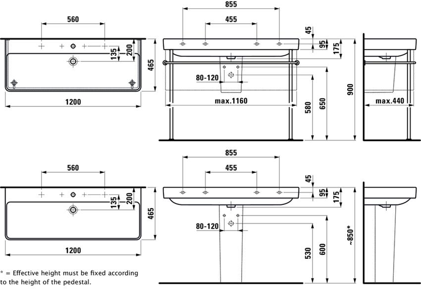 Umywalka 120 cm Laufen Pro S rysunek techniczny