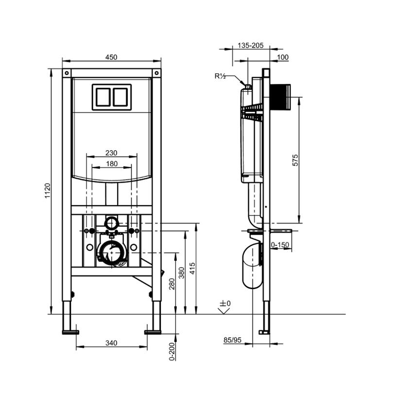 Stelaż podtynkowy do wiszących misek WC przeznaczonych do łazienek bez barier Franke Aquafix rysunek techniczny