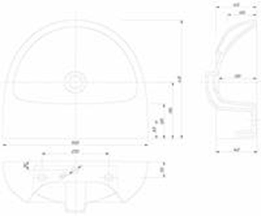 Umywalka półokrągła bez otworu 50 cm Koło Nova Pro rysunek techniczny