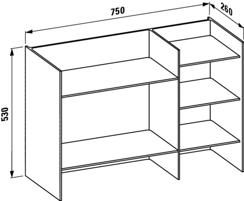 Półka 75 cm Laufen Kartell rysunek techniczny