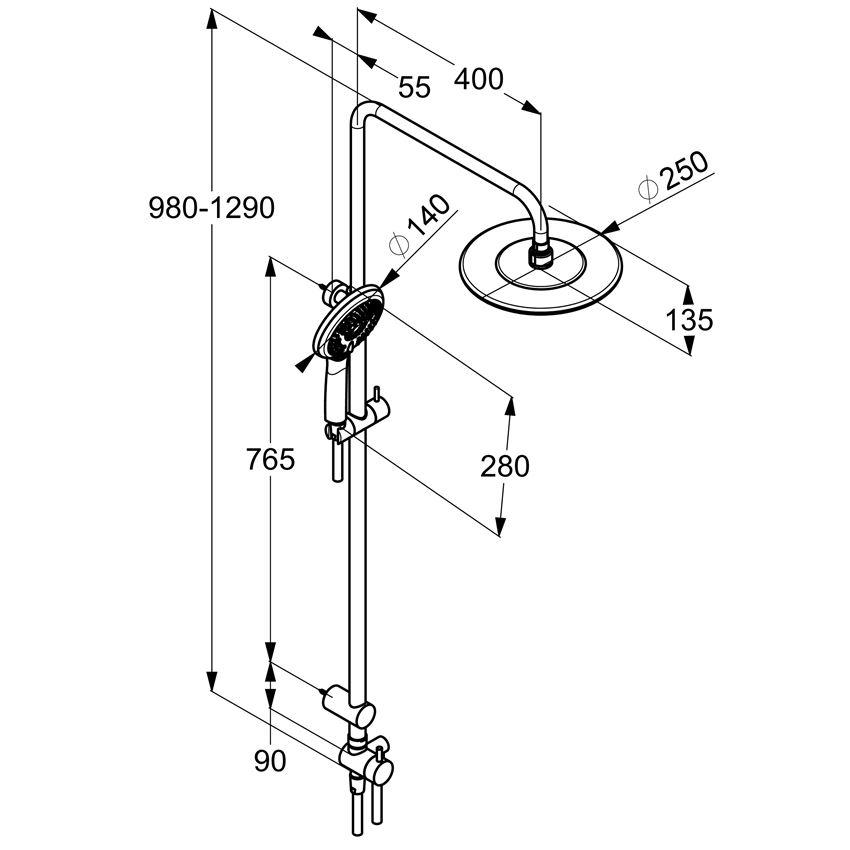 Dual shower system z termostatem chrom Kludi Freshline rysunek techniczny