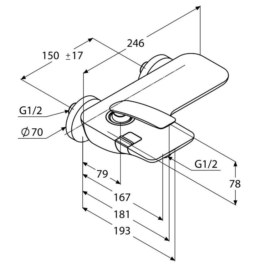 Bateria wannowo-prysznicowa ścienny Kludi Balance rysunek techniczny