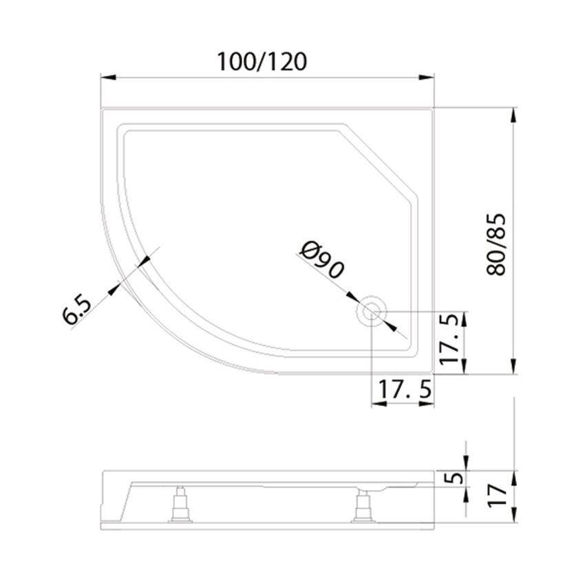 Brodzik asymetryczny New Trendy New Maxima rysunek techniczny