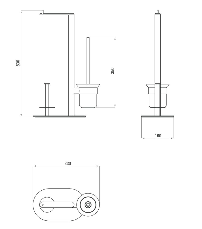Stojak na papier 3-funkcyjny Deante Round rysunek