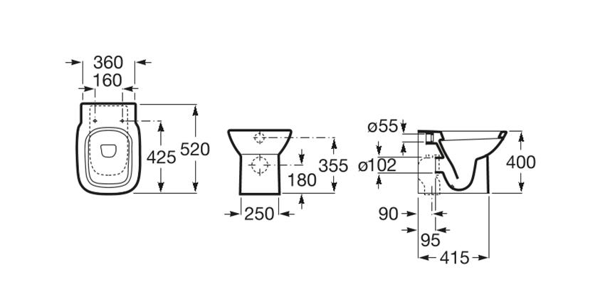 Miska WC stojąca odpływ podwójny montaż przyścienny Roca Debba rysunek