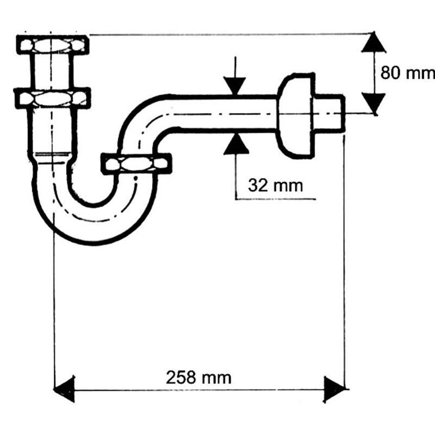 Syfon umywalkowy rurowy McAlpine rysunek techniczny