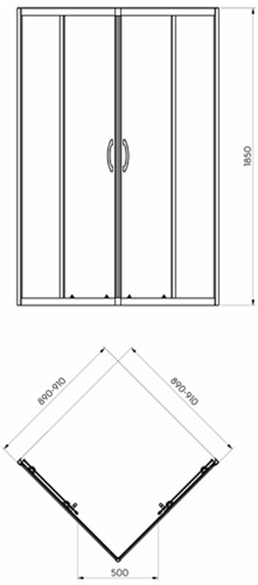 Kabina kwadratowa 185 cm Koło Rekord rysunek techniczny