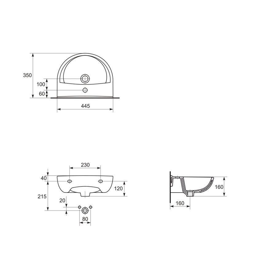 Umywalka wisząca 45 cm z otworem Cersanit President rysunek techniczny