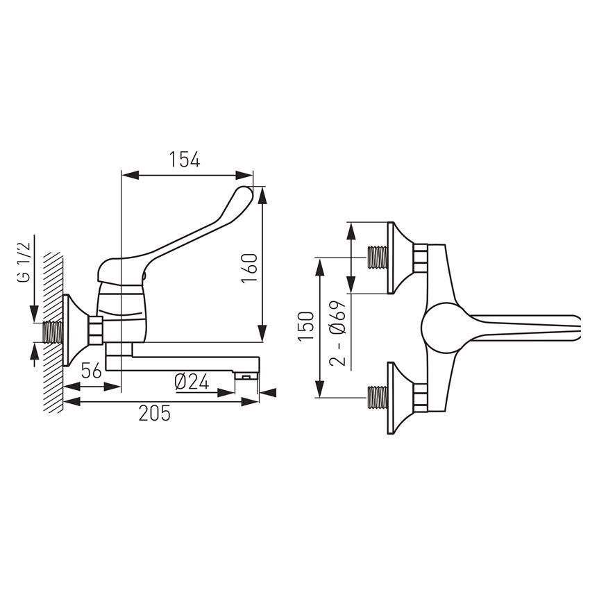 Wymiary baterii umywalkowej ściennej Ferro Vasto Medico BVAM3