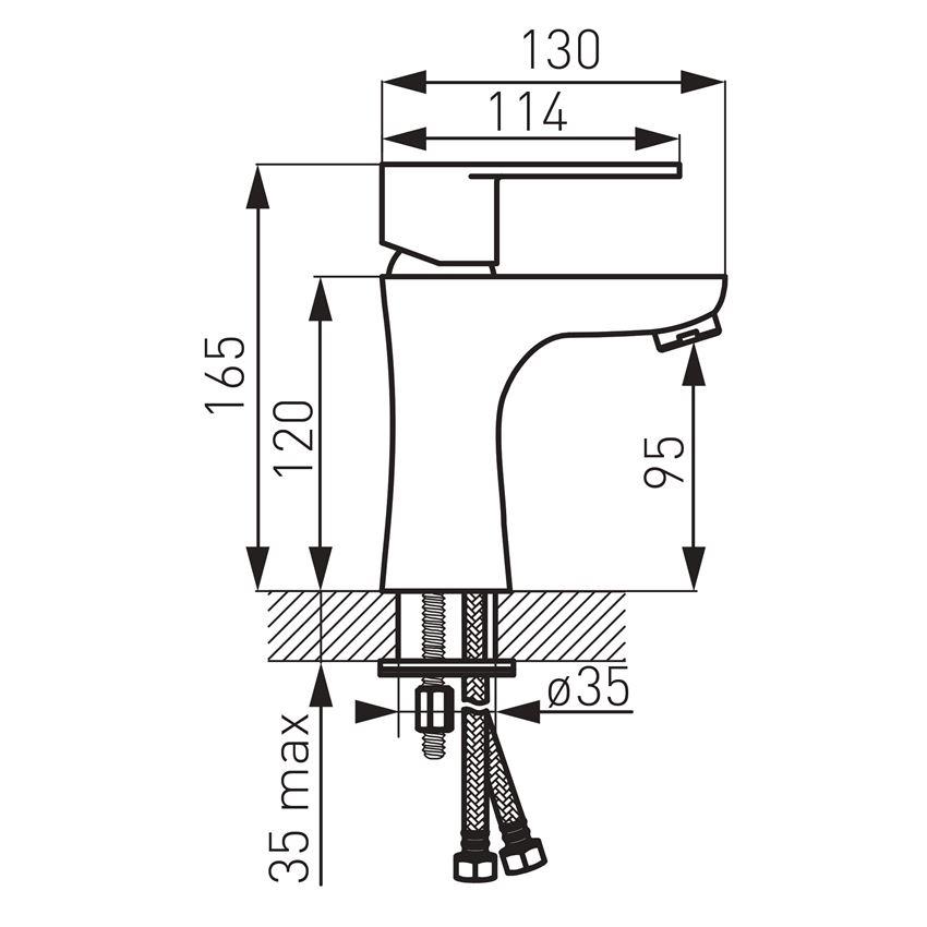 Bateria umywalkowa stojąca Ferro Algeo rysunek techniczny