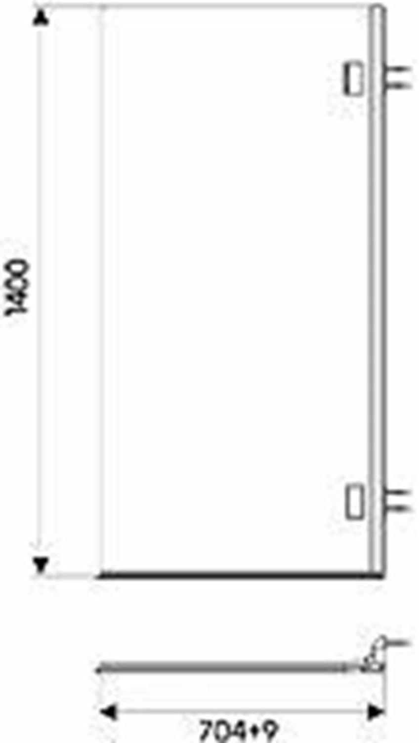 Parawan 1-elementowy 70 cm Koło Niven rysunek techniczny