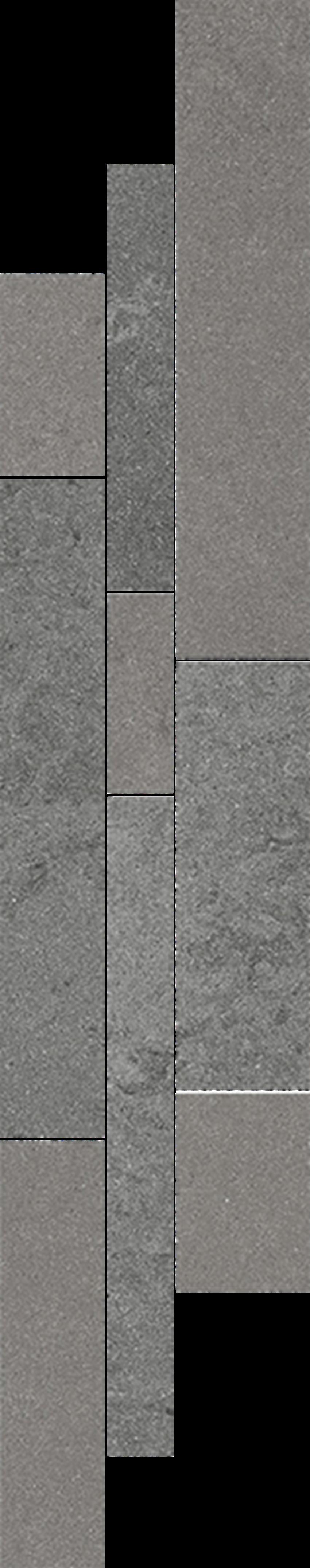 Dekoracja podłogowa 14,3x71 cm Paradyż Naturstone Grafits Listwa Mix Paski